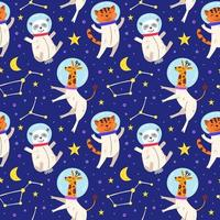 Astronaut animals seamless pattern background vector