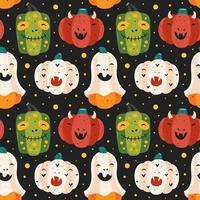 Spooky pumpkins Halloween seamless pattern background vector