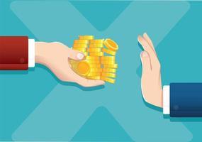 Businessman refusing money offered, corruption concept vector