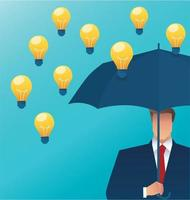 Man holding an umbrella with light bulbs falling