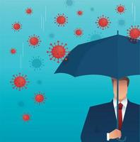 Businessman uses umbrella to protect from Coronavirus vector