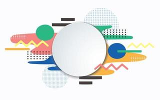 White circle frame over geometric pastel patterns vector