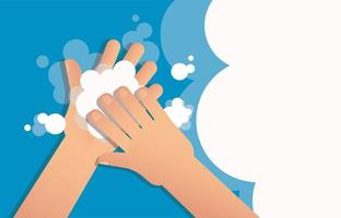 Washing hand with soap concept