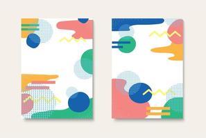 Pastel geometric pattern template set vector
