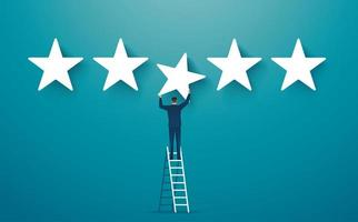 Man on ladder giving five star rating
