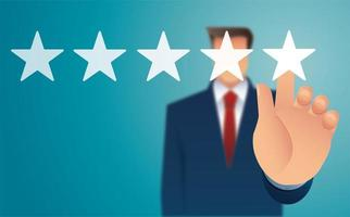 Blurred man's hand giving five star rating
