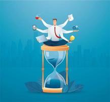 empresarios multitarea en reloj de arena