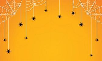 arañas de halloween y telas de araña en degradado naranja vector