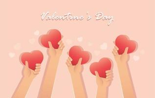 tarjeta de san valentin con manos sosteniendo corazones