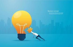 Businessman putting puzzle piece into light bulb vector
