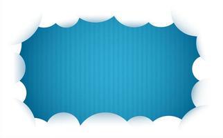 Marco de nubes sobre fondo de rayas azules