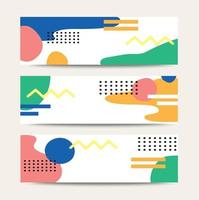 Geometric pastel pattern banner templates vector