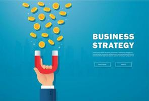 Hand holding magnet attracting money landing page