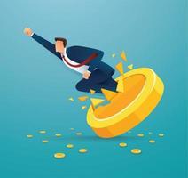 El empresario rompe la moneda de oro hacia el éxito. vector
