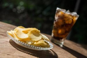 potato chip and sparking water