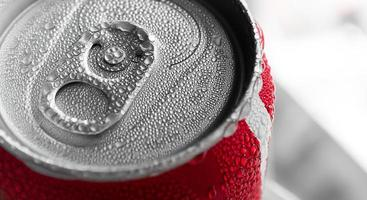Water drop on soda cans