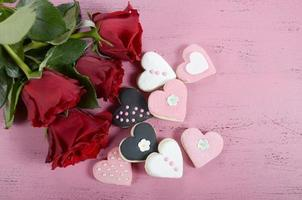 Romantic heart shape pink, white and black cookies