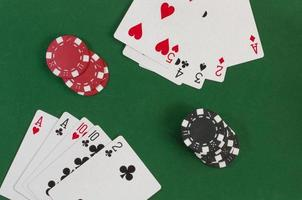 Poker, straight and gambling chips photo