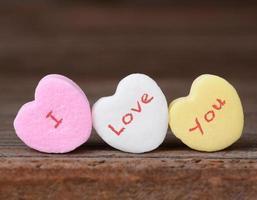 te amo en corazones de caramelo foto