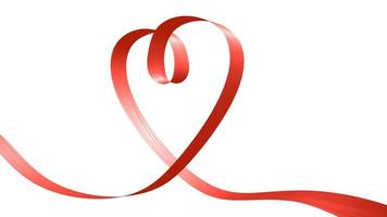 Red ribbon in the shape of heart photo