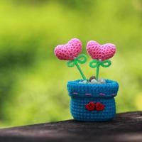 crochet heart on old wood. photo