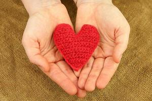 Knitting heart in the hands photo