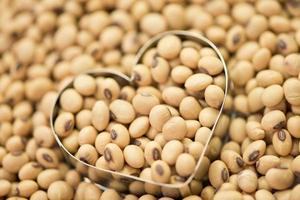 Soy beans in heart box shape