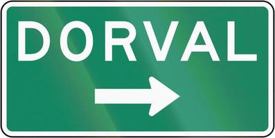 Señal de dirección Dorval en Canadá