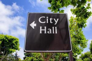 Arrowed City Hall Sign photo