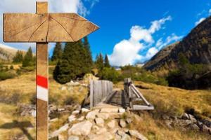 Señal de sendero direccional de madera en montaña