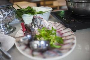 Fish scalding hot water