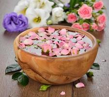 Water and rose petals