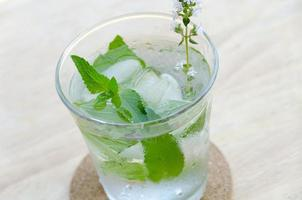 cold water with fresh herbal leaves