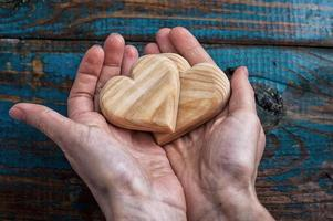 two symbolic wooden heart photo