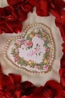 Vertical Valentine with pearls photo