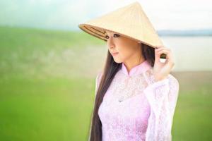 Portrait of Thai girls with Ao Dai photo