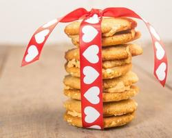 Valentine's Day cookies tied up with heart ribbon