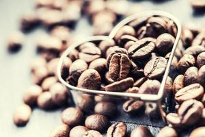 Coffee beans in the form of heart photo