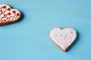 Heart-shaped cookies on the boards photo