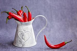 Hot red chili peppers in a metal gray basket