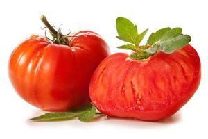 Large mature ox heart tomatoes. photo