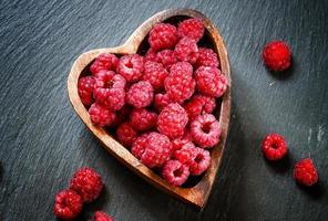Fresh raspberries in a bowl photo