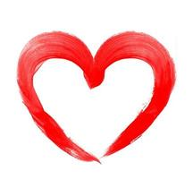 Drawing of red heart isolated on white photo