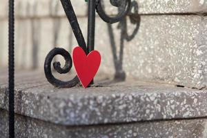 Hearts and Valentines day decoration in park.Outdoor