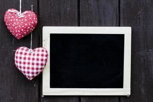Blackboard decorated and handmade hearts