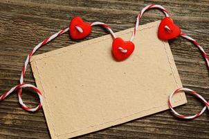 Three hearts and a card photo
