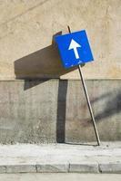 Blue street sign, Romania. photo