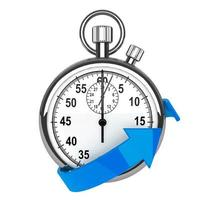 Stopwatch with blue arrow