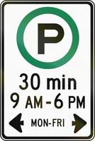 Half Hour Parking In Specified Times in Canada