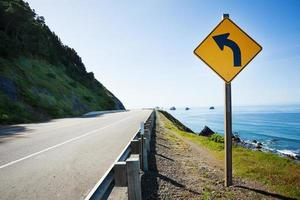California, Pacific ocean US 101 with arrow sign photo